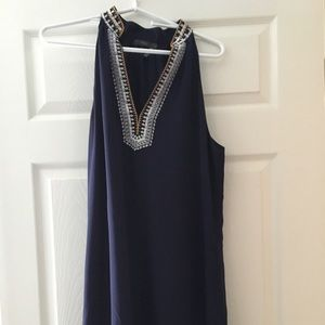 Embroidered navy dress